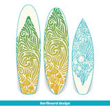 Surfboard Design Five. Design surfboard with a color and blue hand drawn pattern of hallucinogenic mushrooms. Located on the white background Stock Photos