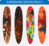 Surfboard design pack. Vector pack of four colorful surfboard designs Royalty Free Stock Photo