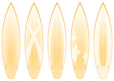 Surfboard Designs (yellow). A set of 5 surfboard designs in yellow tones Royalty Free Stock Photos