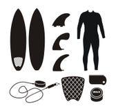 Surfboard equipment - silhouette Stock Photo