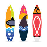 Surfboard with fish icon on it set illustration Royalty Free Stock Images