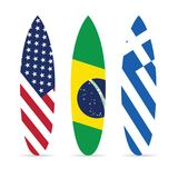 Surfboard with flag on it set leisure illustration Royalty Free Stock Image
