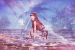 Surfboard girl double exposure Stock Photos