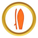 Surfboard icon. In golden circle, cartoon style isolated on white background Stock Illustration