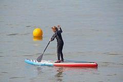 Surfboard kayak woman Stock Photos