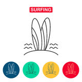 Surfboard Kreskowa ikona Zdjęcie Stock