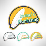 Surfboard label logo or surging shop board. T. Shirt print. Surfing banner. Vector illustration Stock Photos