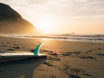 Surfboard Laying in Sand on Beach royalty free stock photo