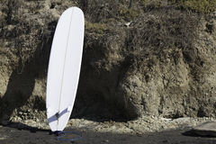 Surfboard Leaning on Cliff at Del Mar Stock Images