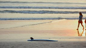 Surfboard lies on the sand against a backdrop of beautiful ocean waves at sunset on tropical beach, timelapse. Surfboard lies on the sand against a backdrop of stock video