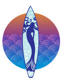 Surfboard with Mermaid design royalty free illustration