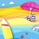 Surfboard. Pink parasol - umbrella in paper cut style. Origami sea and beach with lifebuoy. Sport ball game. Flipflops Stock Photos
