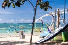 Surfboard on the Sanur beach, tropical Bali island, Indonesia. royalty free stock photography