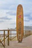 Surfboard Sculpture at Promenade Monanita Beach Ecuador Royalty Free Stock Photos