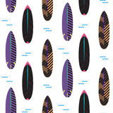 Surfboard seamless vector pattern. Black and purple striped boards on white. Royalty Free Stock Photography