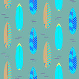 Surfboard seamless vector pattern. Blue and cyan striped boards on white. Royalty Free Stock Image