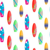 Surfboard seamless vector pattern. Multicolor boards on white. Stock Image