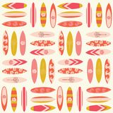 Surfboard seamless vector pattern. Surfing background in retro colors. Summer vacation travel illustration. Surf sport feminine royalty free illustration