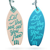 Surfboard Shaped Hang Tags Stock Photography