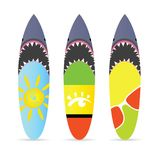 Surfboard with shark on it set leisure illustration Royalty Free Stock Image