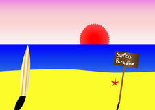 Surfboard on beach Stock Image