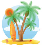 Surfboard standing under a palm tree vector illustration Stock Photos