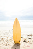 Surfboard standing upright in sand. Yellow surfboard standing upright in sand on beach with ocean and sky in background Stock Photo