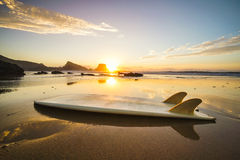 Surfboard Sunset Stock Image