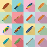 Surfboard surf board icons set, flat style. Surfboard surf board icons set. Flat illustration of 16 surfboard surf board vector icons for web stock illustration