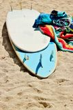 Surfboard and towels 2 Stock Photography
