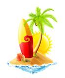 Surfboard and tropical island royalty free illustration