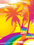 Surfboard and tropical rainbow Stock Image