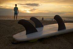 Surfboard Underside with Fins Stock Photography