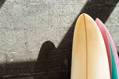 Surfboard on the wall royalty free stock image