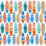 Surfboard watercolor seamless pattern. Royalty Free Stock Photo
