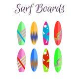 Surfboard wektorowy kolorowy set Surfować deski lata wodnego sport royalty ilustracja