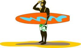 Surfboarder ищет волны иллюстрация вектора