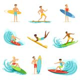 Surfboarders riding on waves set, surfer men with surfboards in different poses vector Illustrations Stock Image