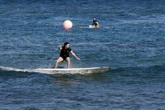 SURFBOARDING KA ANAPALI SHORE Stock Images