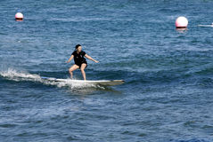 SURFBOARDING KA ANAPALI SHORE Stock Photos