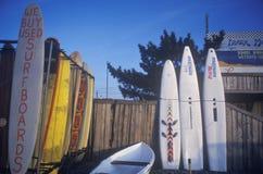 Surfboards выровнянные вверх на деревянной загородке стоковая фотография rf