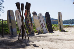 Surfboards на пляже Стоковые Фото
