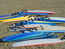 Surfboards. Piled up on the beach Royalty Free Stock Photography