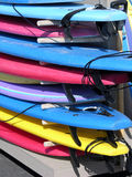 Surfboards. A stack of surfboards at a local shop Stock Images