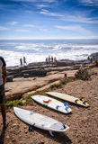 surfboards at anchor point,Taghazout surf village,agadir,morocco Royalty Free Stock Images