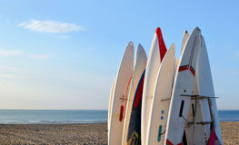 Surfboards awaiting fun in the sun on a beach royalty free stock photography
