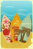 Surfboards on the beach. Vintage postcard - Surfboards on the beach - illustration Stock Images
