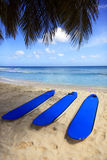 Surfboards at beach Stock Photography