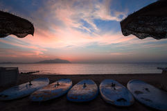 Surfboards on the beach. High resolution Royalty Free Stock Photos