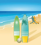 Surfboards on beach Royalty Free Stock Images